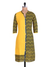 Yellow And Blue Cotton Printed Kurta - By