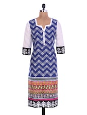 White And Blue Cotton Printed Kurta - By