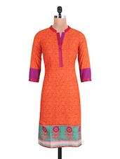 Orange Cotton Embroidered Kurta - By