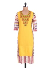 Yellow Cotton Rayon Embroidered Kurta - By