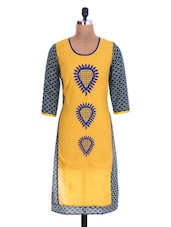 Yellow Cotton Printed Kurta - By