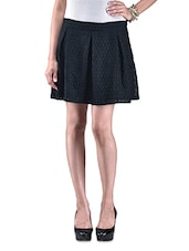Black Textured Poly Lace Skater Skirt - By