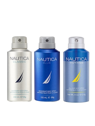 Nautica Classic, Blue and Voyage Deodorant Body Sprays for Men (Set of 3 x 150 ml) -  online shopping for Deodorants