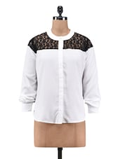 White Polyester Shirt With Lace Yoke - By