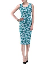 Green Knitted Polyester Rose Party Wear Dress - By