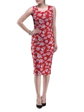 Red Knitted Polyester Rose Party Wear Dress - By