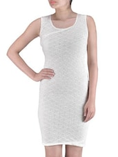 White Poly Viscose Net Sequined Party Wear Dress - By