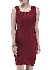 Red Poly Viscose Net Sequined Party Wear Dress - By