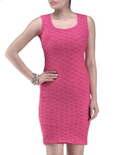 Pink Poly Viscose Net Sequined Party Wear Dress - By