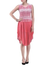 Pink Polyester Printed Party Wear Dress - By