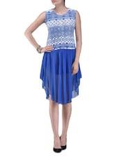 Blue Printed Polyester Party Wear Dress - By