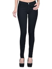 Black Denim Lycra Stretchable Jeans - By