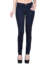 Navy Blue Denim Lycra Stretchable Jeans - By