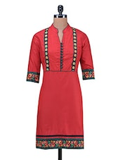 Red  Pin Tucked Patch Worked Embroidered Pin Tucked Kurti - By