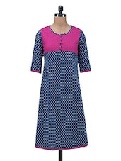 Blue Embroidered Printed Cotton Kurti - By