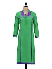 Green Embroidered Beaded Patch Worked Cotton Kurti - By
