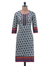 Multicolor Printed Patch Worked Cotton Kurti - By