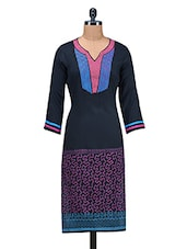 Multicolor Printed Embroidered Patch Worked Rayon Kurti - By