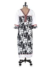White Printed Beaded Rayon Kurti - By