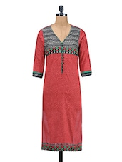 Red Printed Embroidered Cotton Kurti - By