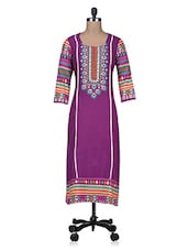 Purple Printed Embroidered Cotton Kurti - By