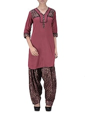 Red Printed Gathered Cotton Kurti - By