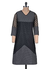 Black Polka Dots Printed Poly Cotton Kurti - By
