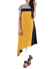 Yellow Rayon Asymmetric Kurta - By