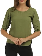 solid green crepe top -  online shopping for Tops