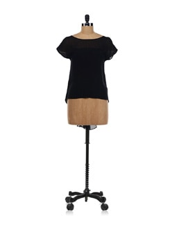 Black Top With Flared Gusset Back - Forever  New