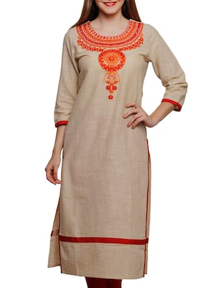 beige cotton embroidered straight kurta