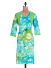 Green And Blue Cotton Tie N Dye Kurta - By
