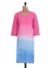 Pink And Blue Cotton Kurta With Cutwork - By