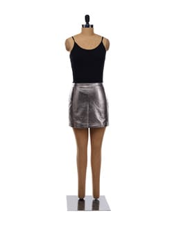 Silver Leather Short Skirt - Forever  New