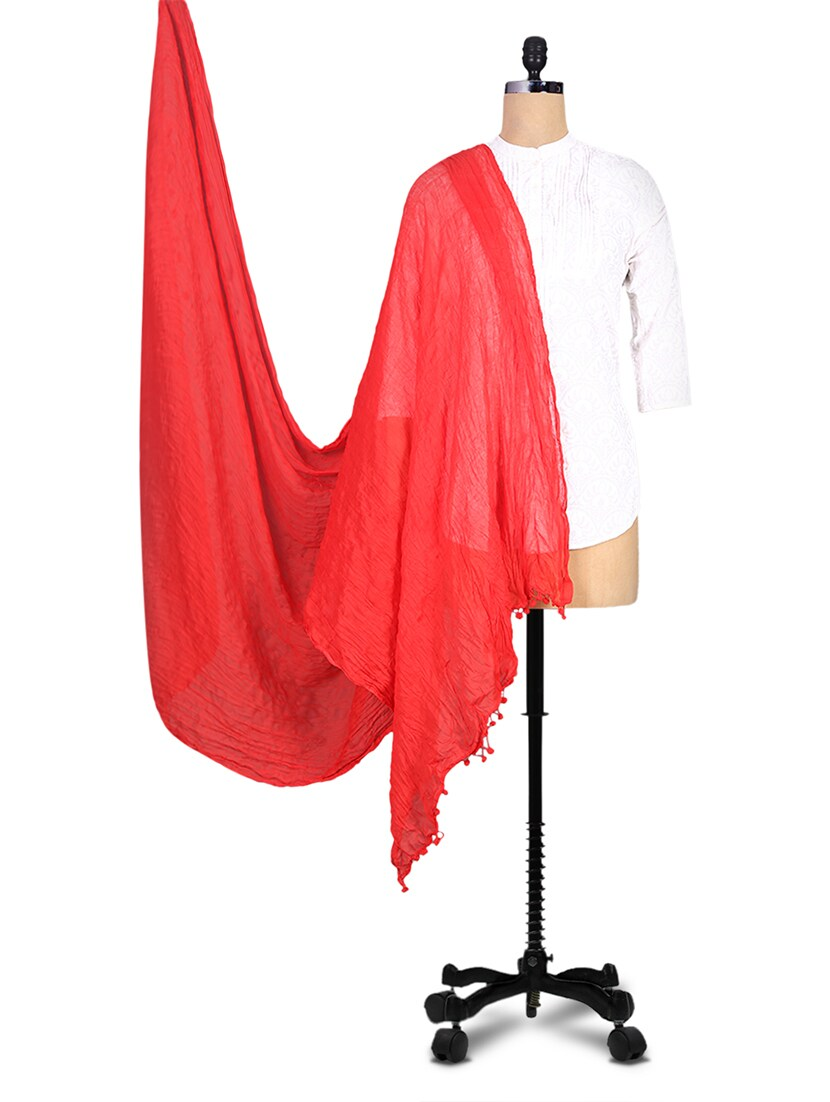Solid Red Cotton Dupatta - By