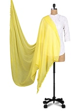 Solid Yellow Cotton Dupatta - By