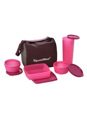 Pink Plastic Jumbo Lunch Box With Bag - By