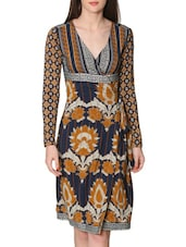 Navy Blue Printed Wrap Dress - LABEL Ritu Kumar