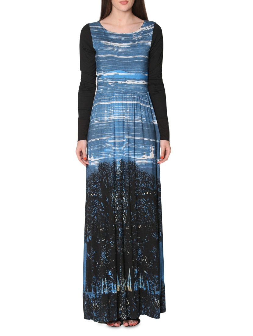 Black And Blue Printed Maxi Dress - By