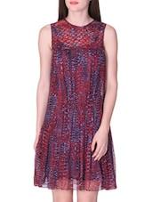 Burgundy Printed Sleeveless Dress - LABEL Ritu Kumar