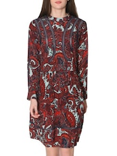 Maroon Printed Pleated Dress - LABEL Ritu Kumar
