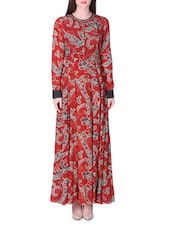 Maroon Printed Long Dress - LABEL Ritu Kumar