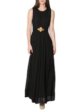 Black Sleeveless Long Dress - LABEL Ritu Kumar