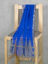 Royal Blue Art Silk Dupatta With Zari Border - Prabha Creations