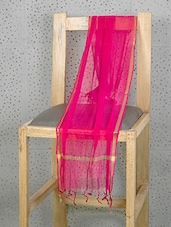 Pink Art Silk Dupatta With Zari Border - Prabha Creations