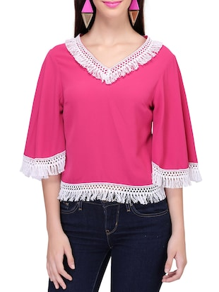pink crepe regular top