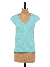 Blue Cotton Spandex Printed Top - By