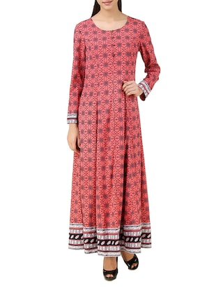 pink crepe printed maxi dress