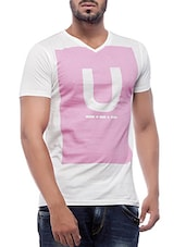 white and pink printed cotton t-shirt -  online shopping for T-Shirts