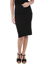 Solid Black Cotton Spandex Pencil Skirt - By